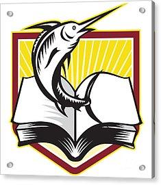 Blue Marlin Fish Jumping Book Retro Acrylic Print by Aloysius Patrimonio