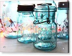 Blue Mason Jars Acrylic Print by Elizabeth Budd