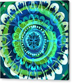 Acrylic Print featuring the digital art Blue Medallion 1 by Lisa Noneman