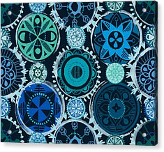 Acrylic Print featuring the digital art Blue Medallions  by Lisa Noneman