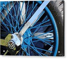 Blue Mg Wire Spoke Rim Acrylic Print by Mark Steven Burhart