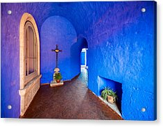 Blue Monastery Interior Acrylic Print by Jess Kraft