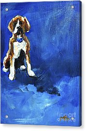 Blue Monday Acrylic Print by Maria's Watercolor
