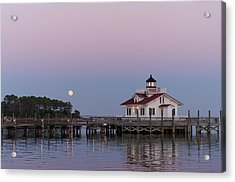 Blue Moon At Roanoke Marshes Lighthouse Acrylic Print by Gregg Southard