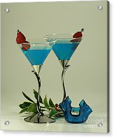 Blue Moon Curacao Cocktails For Two Acrylic Print by Inspired Nature Photography Fine Art Photography