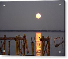 Blue Moon On The Bay On New Years Eve 2009 Acrylic Print