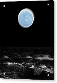 Blue Moon Over The Sea Acrylic Print