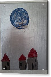 Blue Moon Red Roof Acrylic Print