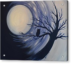 Acrylic Print featuring the painting Blue Moon Vortex With Owl by Agata Lindquist
