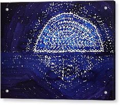 Blue Moonrise Original Painting Acrylic Print by Sol Luckman