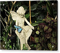 Blue Morpho On Statue Acrylic Print