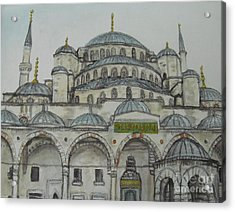 Acrylic Print featuring the painting Blue Mosque Istanbul Turkey by Malinda  Prudhomme