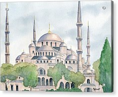 Blue Mosque Acrylic Print by Marsha Elliott