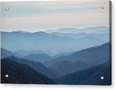 Blue Mountain Cascades Acrylic Print by Mary Anne Baker