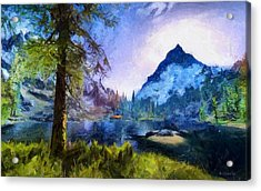 Blue Mountain Of Skyrim Acrylic Print by Kai Saarto