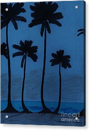 Blue - Night - Beach Acrylic Print