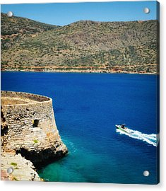 Blue Ocean And A Boat In Greece Acrylic Print