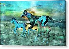 Blue Ocean Horses Acrylic Print