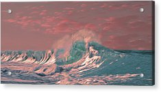 Acrylic Print featuring the digital art Blue Ocean Wave by Timothy Hack