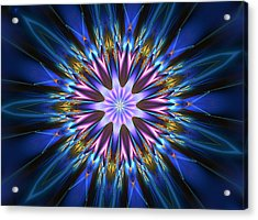Blue Oomph Fractal Mandala Acrylic Print
