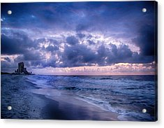 Acrylic Print featuring the digital art Blue Orange Beach by Michael Thomas