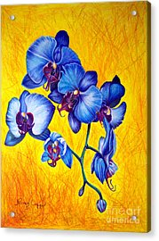 Acrylic Print featuring the painting Blue Orchids 1 by Nancy Cupp