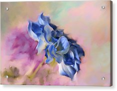 Blue Painted Flower Acrylic Print