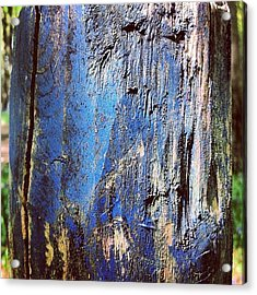 Blue Painted Wood #iccloseups #painted Acrylic Print