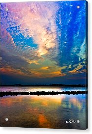 Acrylic Print featuring the photograph Blue Pink Clouds Reflection Lake Landscape Vertical Panorama Art Prints by Eszra Tanner