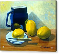 Blue Pitcher With Lemons Acrylic Print