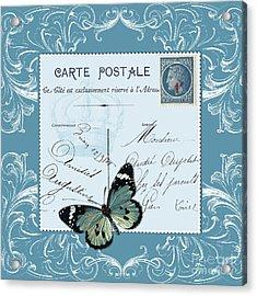 Blue Postcard Acrylic Print by Marion De Lauzun