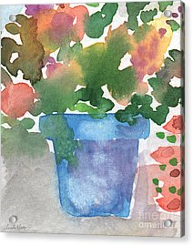 Blue Pot Of Flowers Acrylic Print by Linda Woods