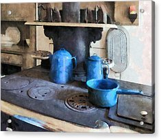 Blue Pots On Stove Acrylic Print by Susan Savad