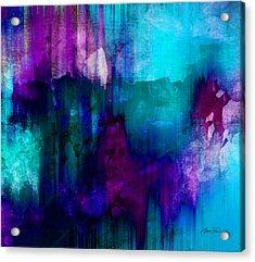 Blue Rain  Abstract Art   Acrylic Print by Ann Powell