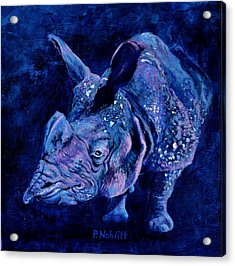 Indian Rhino - Blue Acrylic Print