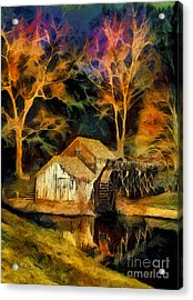 Blue Ridge - Mabry Mill Painted At Night II Acrylic Print by Dan Carmichael