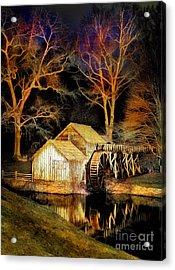 Blue Ridge - Mabry Mill Painted At Night IIi Acrylic Print by Dan Carmichael