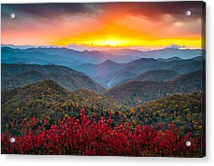 Blue Ridge Parkway Autumn Sunset Nc - Rapture Acrylic Print by Dave Allen