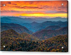 Blue Ridge Parkway Fall Sunset Landscape - Autumn Glory Acrylic Print by Dave Allen
