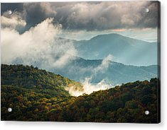 Blue Ridge Parkway Nc Autumn Morning Acrylic Print by Dave Allen