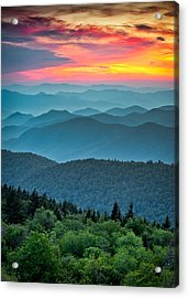 Blue Ridge Parkway Sunset - The Great Blue Yonder Acrylic Print by Dave Allen