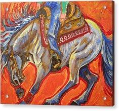 Blue Roan Reining Horse Spin Acrylic Print by Jenn Cunningham