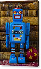 Blue Robot And Books Acrylic Print by Garry Gay