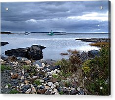 Blue Rocks Late October Day Acrylic Print by Janet Ashworth