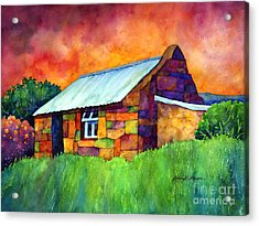 Blue Roof Cottage Acrylic Print by Hailey E Herrera