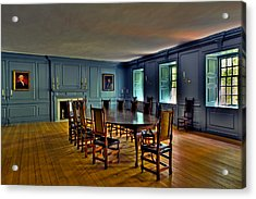 Acrylic Print featuring the photograph Blue Room Wren Building by Jerry Gammon