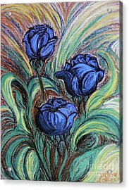 Blue Roses Acrylic Print by Jasna Dragun