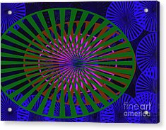 Blue Rounds And Spirals Acrylic Print by Tina M Wenger