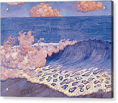 Blue Seascape Wave Effect Acrylic Print by Georges Lacombe