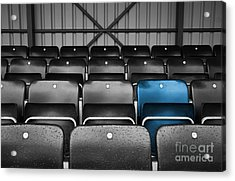 Blue Seat In The Football Stand Acrylic Print by Natalie Kinnear